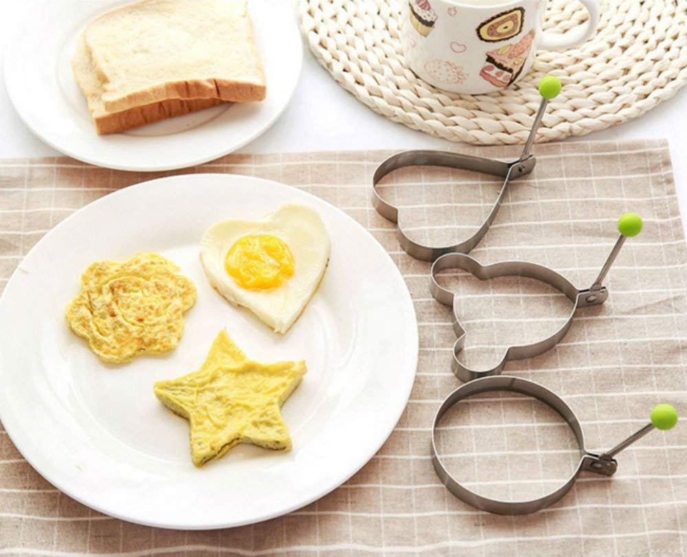 Magik 5 Pcs Fried Egg Non Stick Stainless Steel Pancake Ring Mold Cooking Kitchen Tools by Magik (Image #2)
