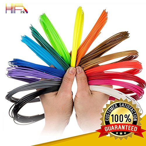 HF Ink PLA 3D Pen Filament with a Variety of Colors(16 Colors X 20 Feet Each). 3D Printing Pen Filament 1.75mm. High-Precision Diameter Filament at 20 Feet by HFInk.