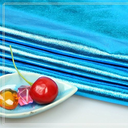 (Shanghaipop Stretchy Spandex Fabric Metallic Shiny Fabric for Costume Dress Crafts by Meter (Sky)