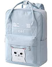 Women Girls Japanese and Korean Style Bags Kawaii Cat Canvas School Backpack