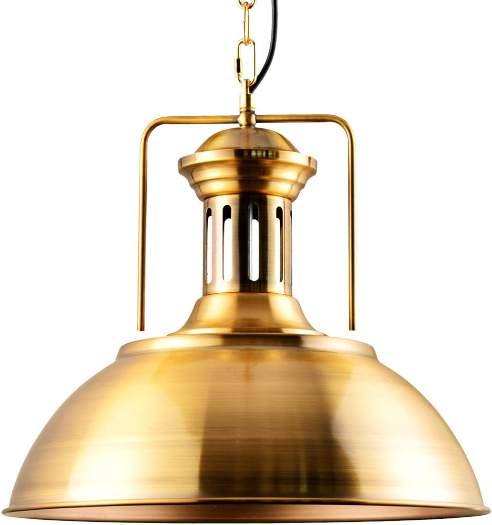 Lingkai Pendant Lighting Industrial Nautical Barn Pendant Light Single with Rustic Dome Bowl Shape Mounted Fixture Ceiling Lamp Chandelier Golden Bronze