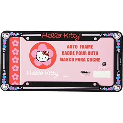 Hello Kitty Glitter License Plate Frame (Made of Plastic): Automotive
