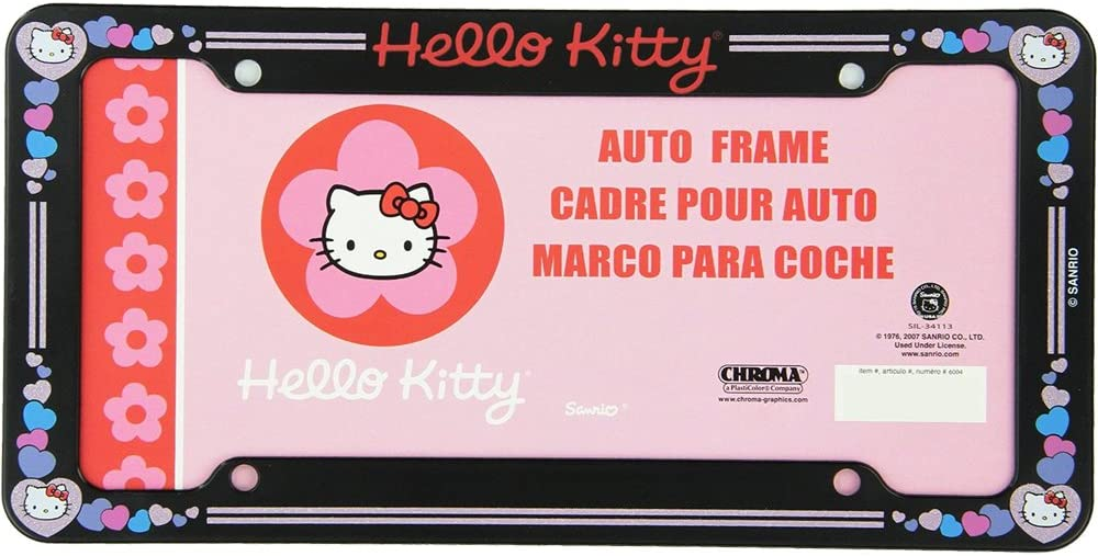 1 PC Hello Kitty Glitter Hearts License Plate Frame