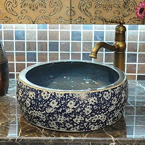 ZKS-KS セラミックシンク洗面台セラミックカウンタートップ洗面青と白のバスルームシンクバスルームの洗面台