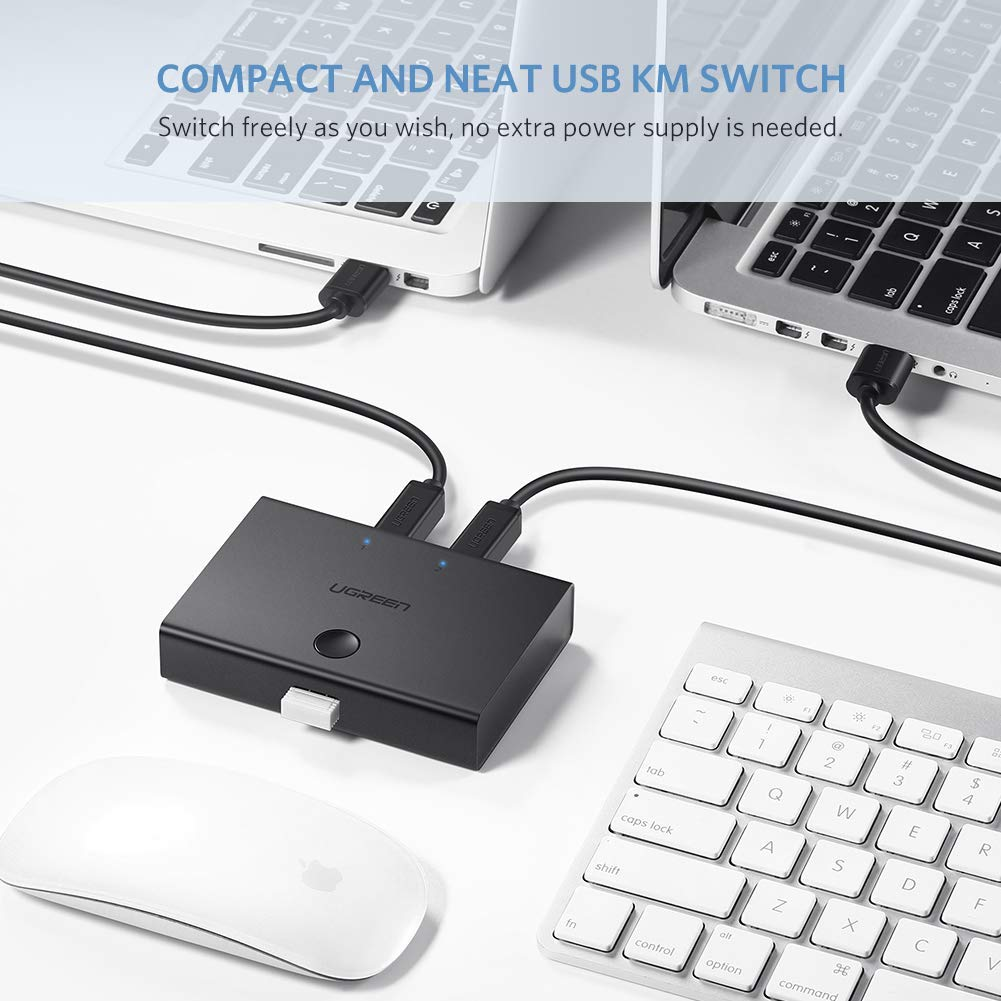 UGREEN USB Sharing Switch USB 2.0 Peripheral Switcher Adapter Box 2 Computer Share 1 USB Device Hub for Printer Scanner with 2 Pack USB 2.0 Male Cable ...