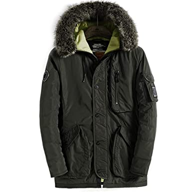 735ec44c4fdd Amazon.com  FLY HAWK Men s Thicken Parka Puffer Jacket Winter ...