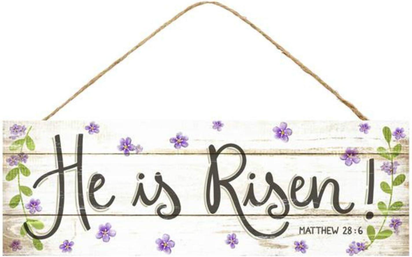 "Craig Bachman 15"" Wooden Sign: He is Risen - Door Wall Easter Religious Sign"