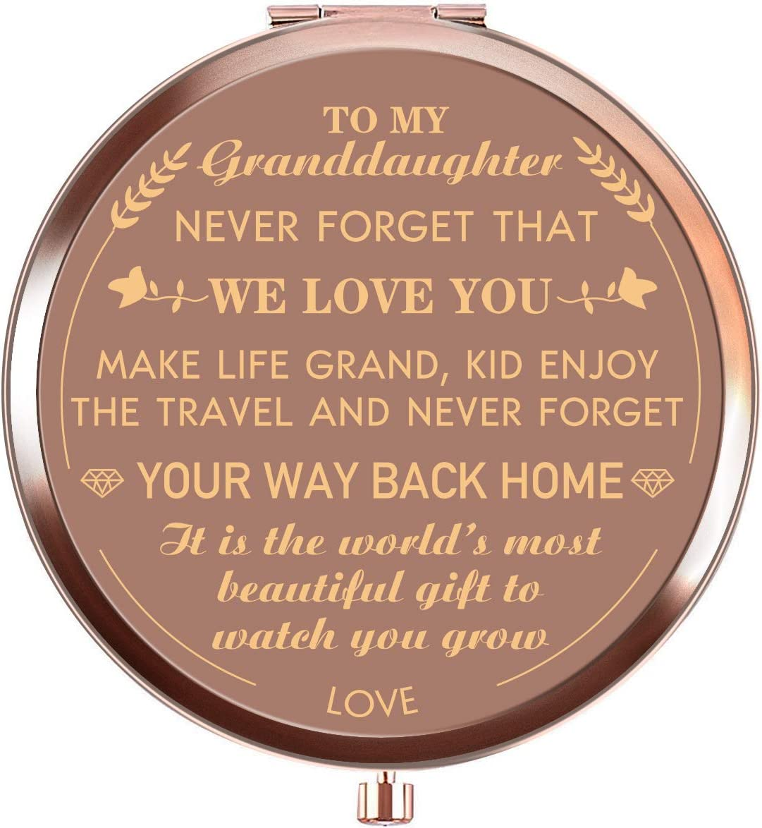 Amazon Com Ueerdand Granddaughter Gifts From Grandmother And Grandfather Unique Birthday Gift Ideas For Granddaughter Present For Women Girls Rose Gold Purse Pocket Makeup Mirror To My Granddaughter Kitchen Dining