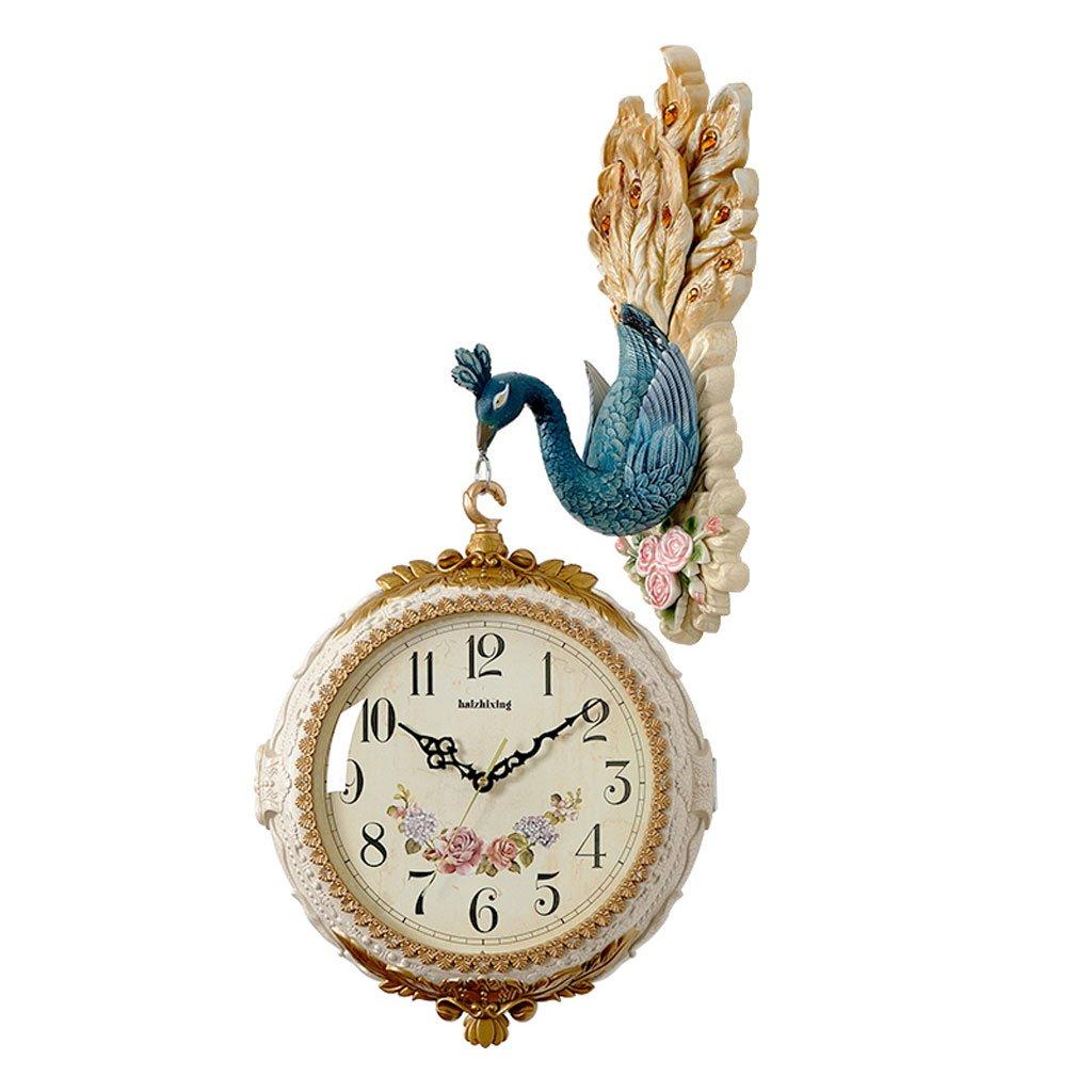 ヨーロッパの孔雀の両面ミュートリビングルームウォールクロック (色 : マルチカラー まるちから゜) B07DHTK6RMマルチカラー まるちから゜