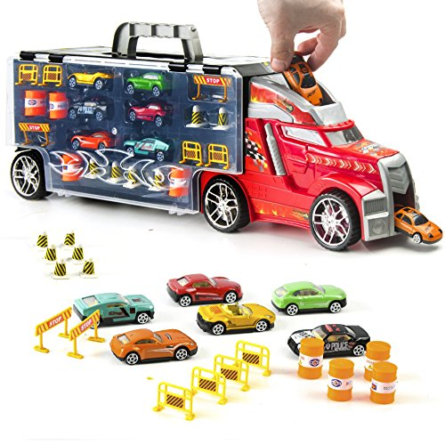 - Prextex 21'' Car Carrier Toy Truck with 6 Toy Cars and Accessories - Detachable Toy Vehicle Transporter for Boys and Toddlers