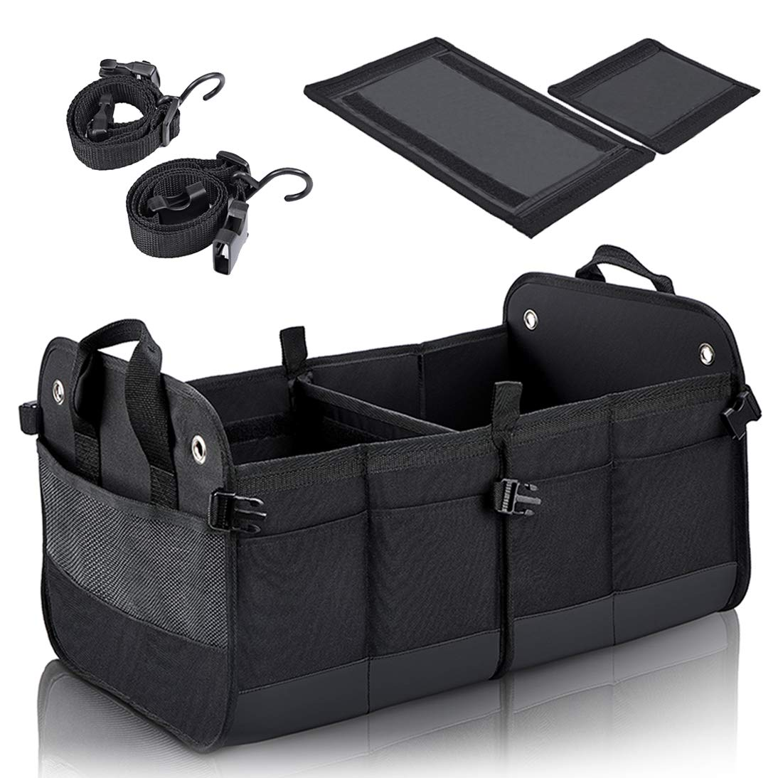 COVAX Car Trunk Organizer, Collapsible SUV Storage, Non Slip Bottom, Securing Straps, Black by COVAX
