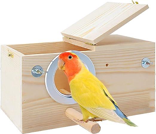 Garispace Wood Breeding Nest Bed Hatching House for Bird Parrot Budgie Parakeet Cockatiel Lovebirds Cage Wood Mating Nesting Box