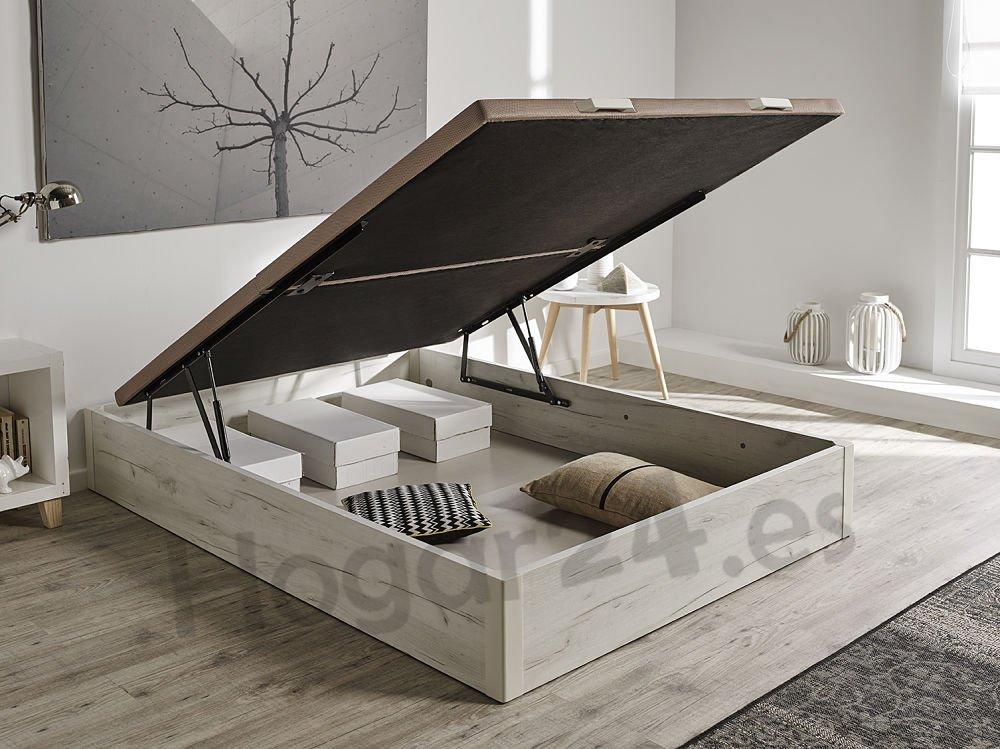 HOGAR24.es 3D- Canapé abatible de Madera de Gran Capacidad Tapa 3D Transpirable Color Blanco vintage-150x190cm: Amazon.es: Hogar