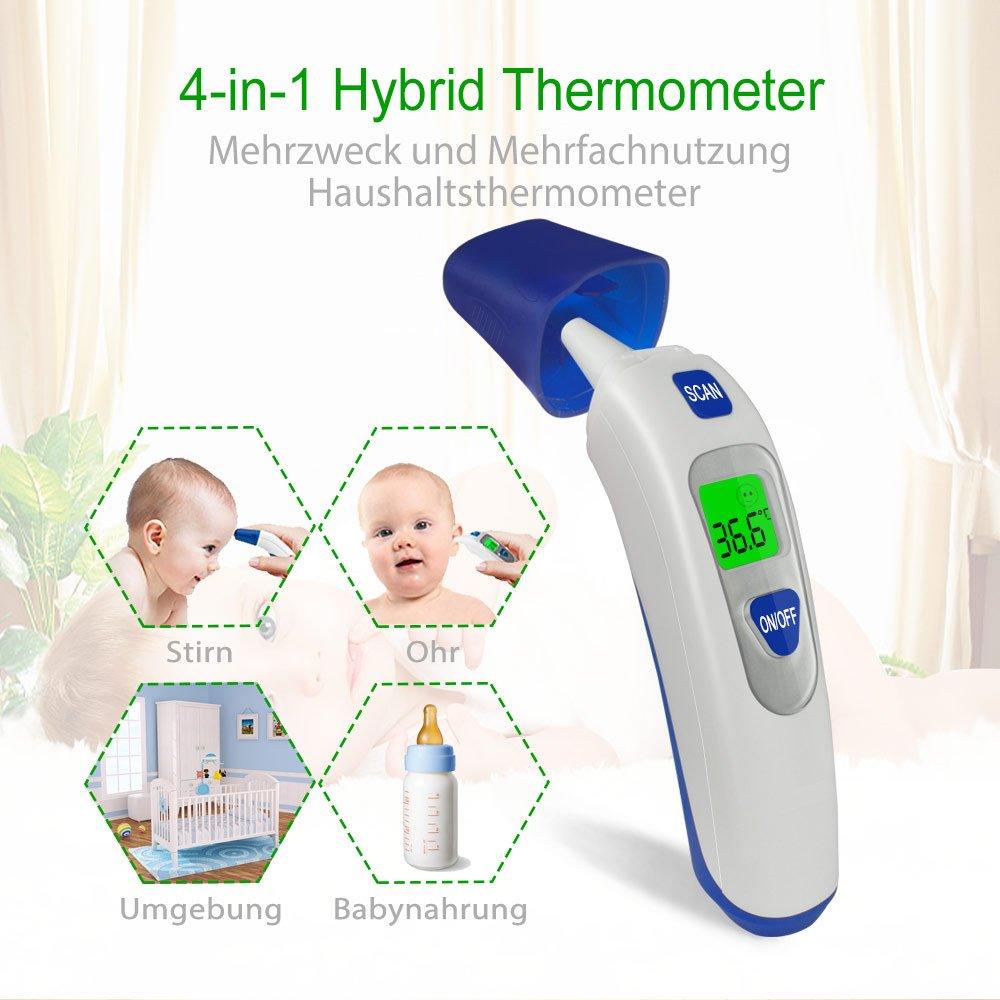 Fieberthermometer Ohrthermometer Infrarot Stirnthermometer Digital 4-IN-1 Medizinisches Thermometer von QUILLE mit Fieber Messen | Präzision: ± 0,2℃ | Abschaltautomatik für Baby Kinder Erwachsenen Objekt