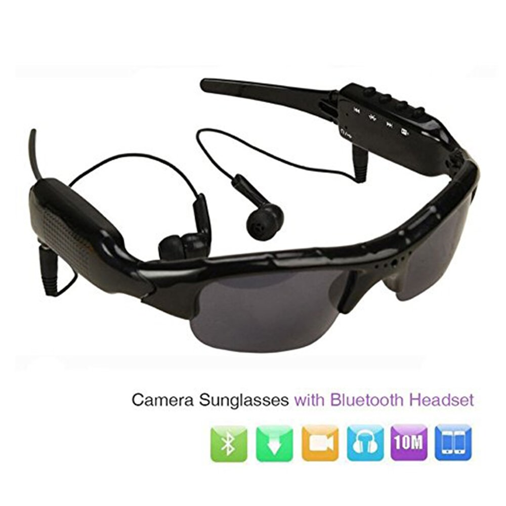 Sunglasses Camera, HD 1080P Camera Mini DV Camcorder Sunglasses Video Recorder w/Bluetooth Headphones Stero Music Player Mini Camera Glass Video for Outdoor Sports