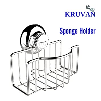 STAINLESS STEEL SPONGE HOLDER FOR KITCHEN SINK WITH NON SLIP SUCTION CUP  POWER. BEST