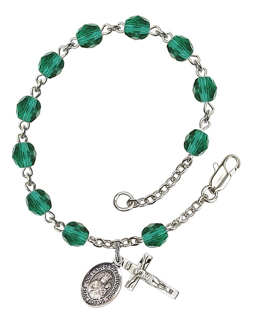 7 1//2 Inch December Birth Month Bead Rosary Bracelet with Patron Saint Petite Charm