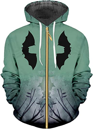 zippern Mens Moon Zip Hoodies 3D Printed Ferocious Horror Bat Pattern Streetwear