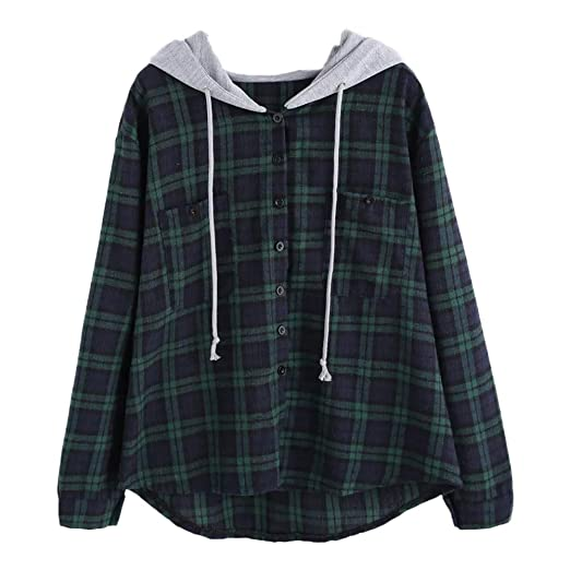 82741579c435a2 Clearance Women Hoodies Sweatshirt Plaid Print Patchwork Long Sleeve Shirt  Pullover Tops Sweaters Blouse at Amazon Women's Clothing store: