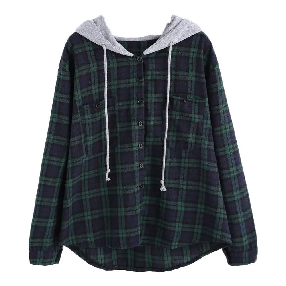 Ulanda Women's Long Sleeve Hoodie Plaid Print Patchwork O Neck Sweatshirt Casual Button-Down Hooded Blouse