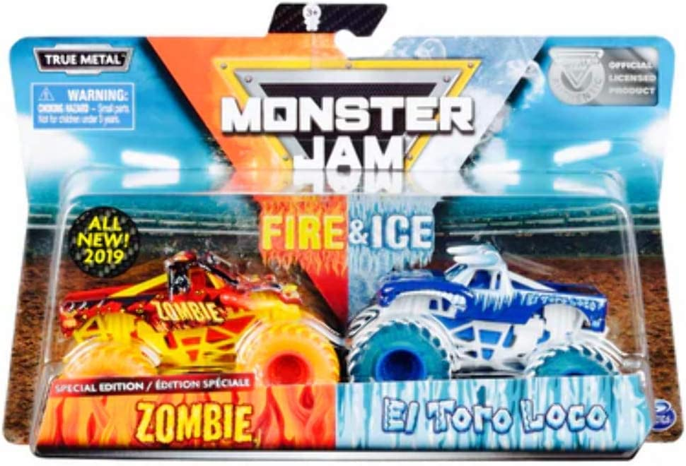 Amazon Com Monster Jam Fire Ice Exclusive 2 Pack Zombie Vs El Toro Loco Monster Truck Die Cast Vehicles 1 64 Scale Toys Games