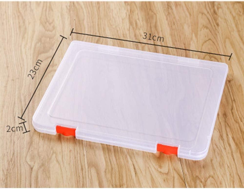 2 piezas Carpeta plástica A4 caja de archivo organizadores cajas de caja de almacenamiento Caja de cajas de archivo de pl¨¢stico transparente,fuentes de oficina, portadocumentos (31 * 23 * 2cm)