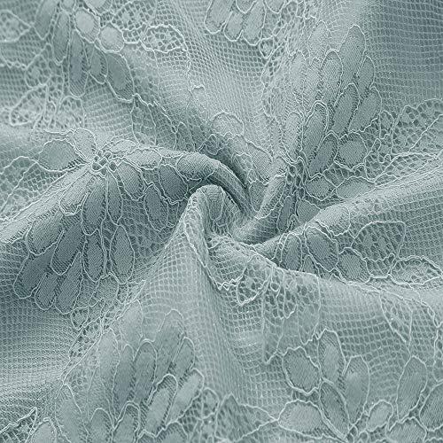 Robes Cocktail Fleur de Dentelle Manches Soire Col Robe Femme Bringbring Elgante Demi Vert Rond AqgxwHwfv8
