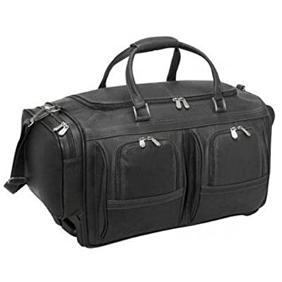 Piel Leather Duffel 22 with Pockets on Wheels