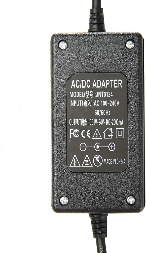 AC 100-240V to DC 1-24V Adjustable Volt LED Cooling Fan Power Supply Adapter Transformer for Electric Fan BlackUS Plug