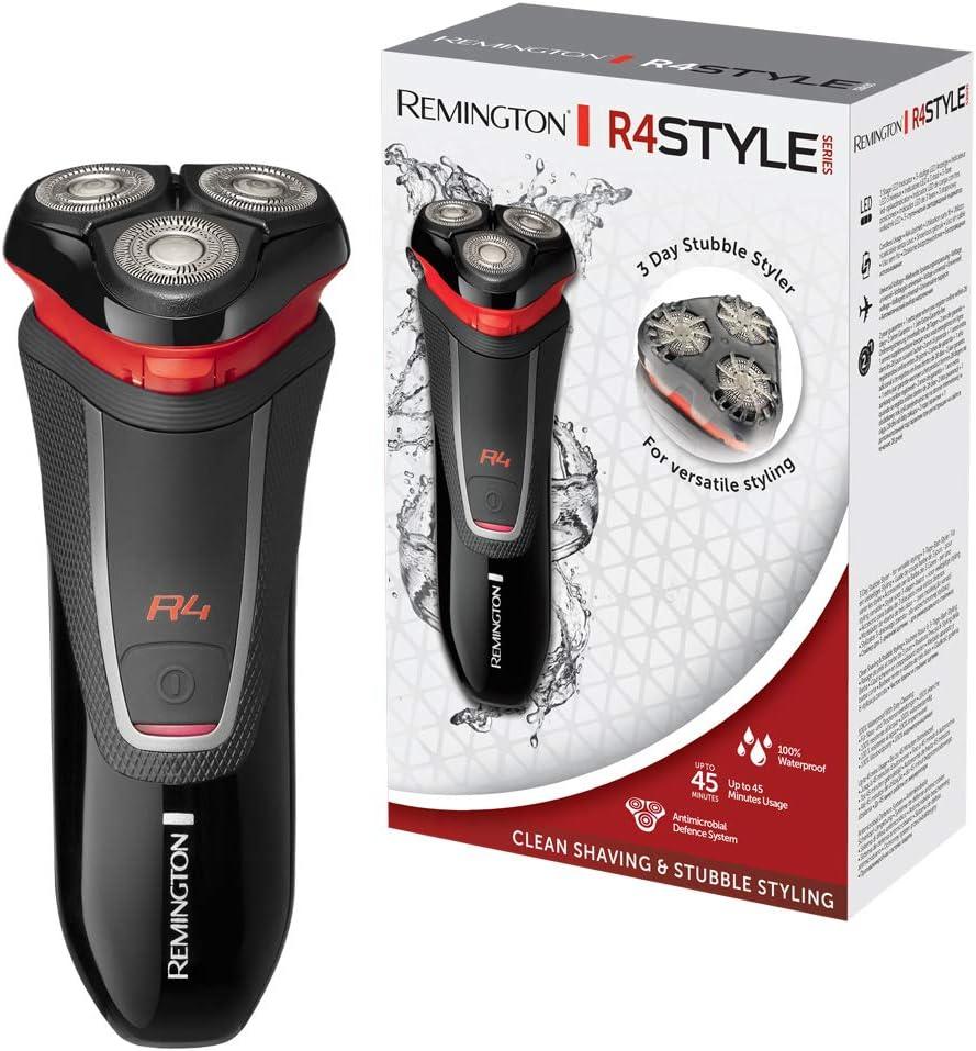Remington R4 Style Series R4000 - Afeitadora Eléctrica Rotativa, Cuchillas Flexibles, Cortapatillas, Inalámbrica, Negro y Rojo: Amazon.es: Salud y cuidado personal