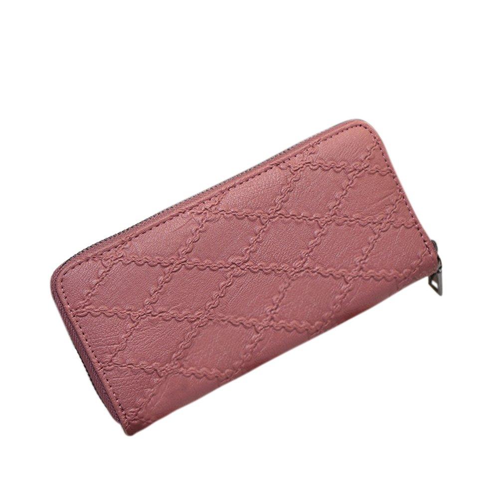 Meiyiu Retro Style Soft PU Leather Multi Color Zipper Closure Hand-take Wallet Elegant Purse for Women Girls Gift Black