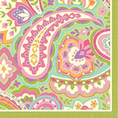 Durable Pretty Pink and Green Paisley Beverage Napkins Party Tableware, Paper, 5