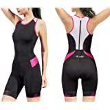 Santic Women's Triathlon-Suit One-Piece Sleeveless Tri-Suit - Padded Quick-Drying Slimming for Running Swimming Cycling