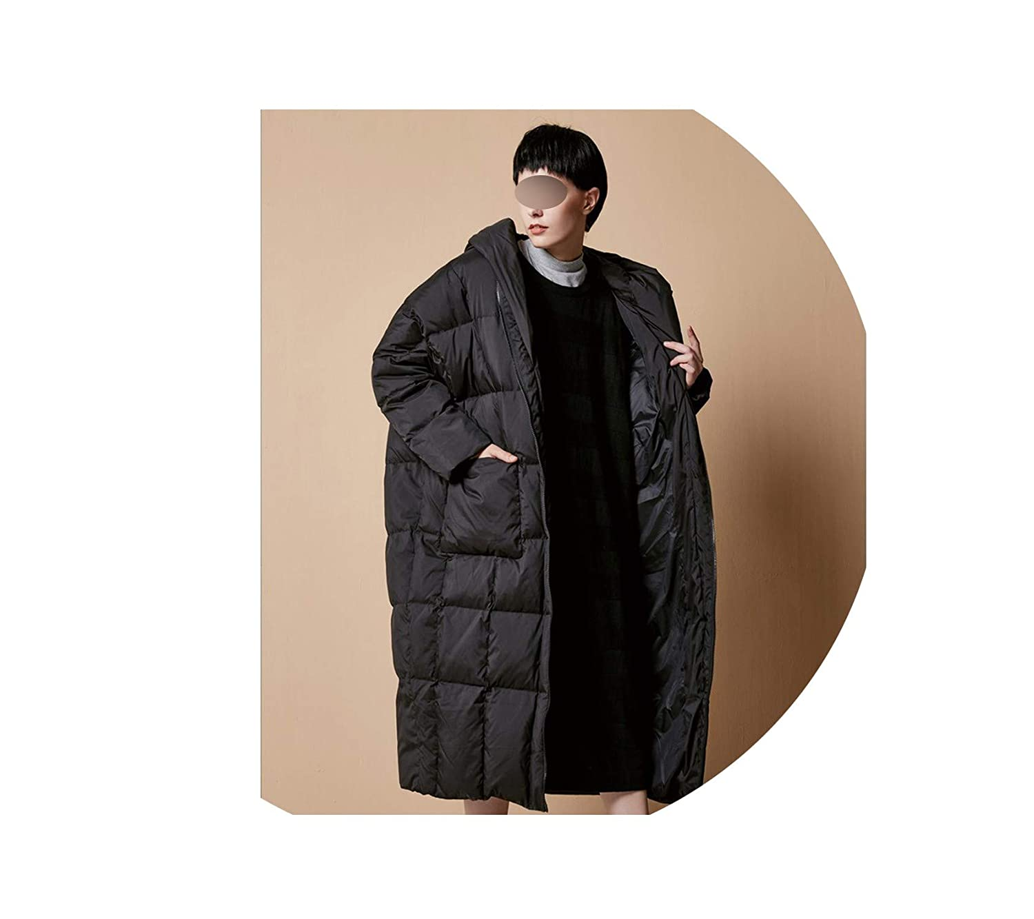 Black Women Casual Loose Cocoon Coat Thick Long Hooded Duck Down Jacket Warm Outwear Plus Size