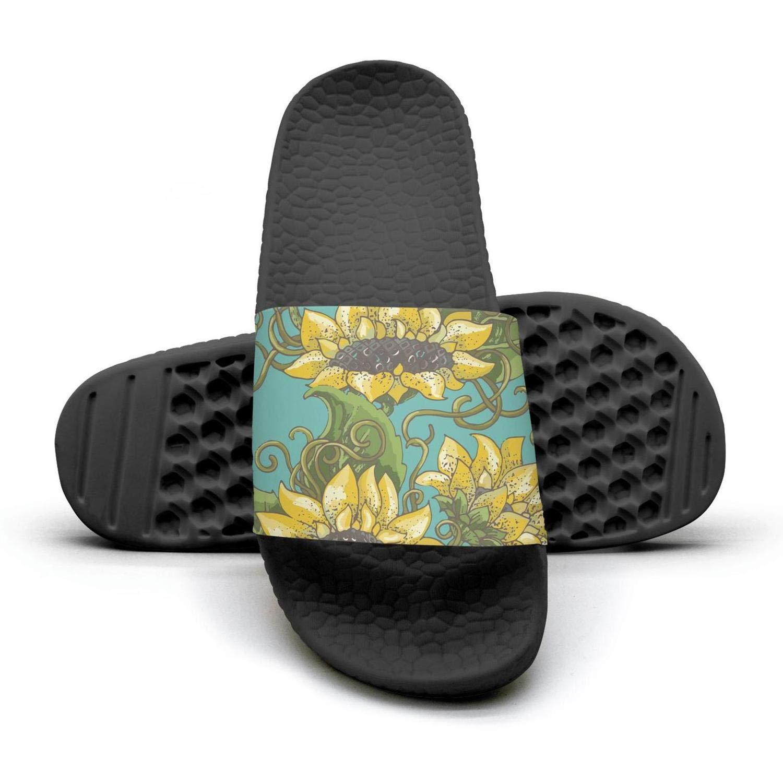 Daalgggg Women Slipper Sunflower Seamless Pattern Comfort EVA Open Toe Flat Sports Slide Sandals
