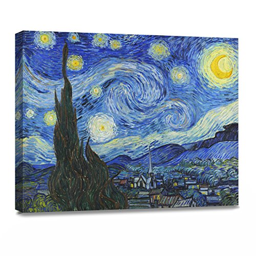 - ArtKisser Painting Starry Night 1889 by Vincent Van Gogh Canvas Wall Art Modern Giclee Abstract Landscape Home Decor Wooden Framed Stretched Prints on Canvas Reproduction Ready to Hang 16