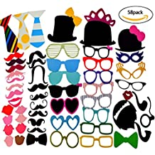 Miayon 58PCS Colorful Props On A Stick Mustache Photo Booth Party Fun Wedding Favor Christmas Birthday Favor