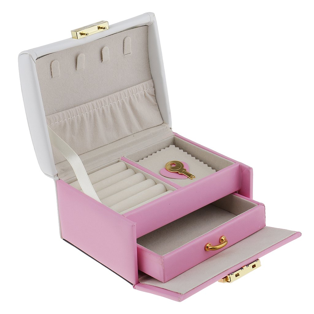 Dovewill Luxury Two Tiers Drawer PU Leather Velvet Jewelry Box Cute Bowknot with Key Lockable Organizer Mini Portable Travel Case