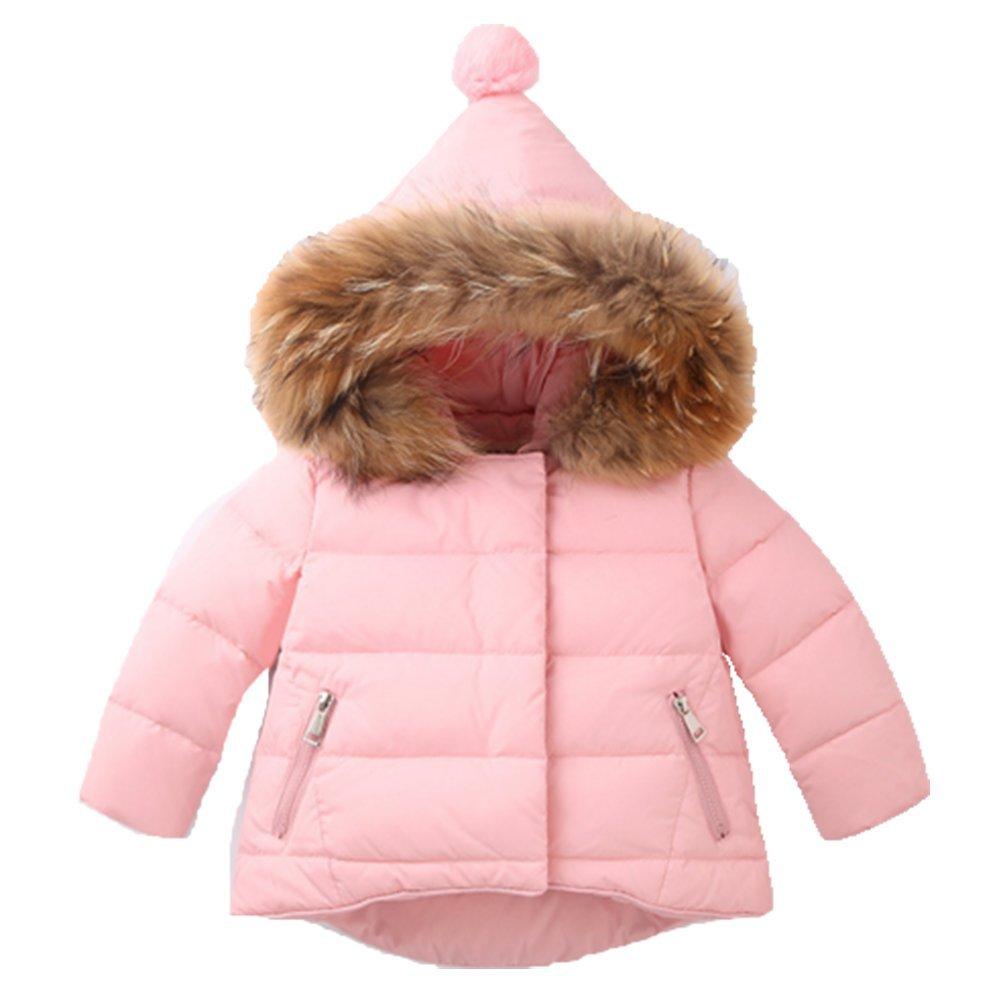 rose 100cm OHmais Unisexe Enfant garçon Fille Veste d'hiver Manteau à Capuche