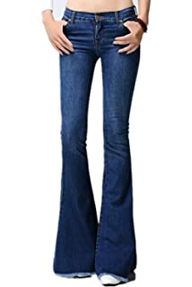 f471a5ddd1de2f AvaCostume Women's Mid-Rise Bell-Bottom Wide Leg Flare Jeans at ...