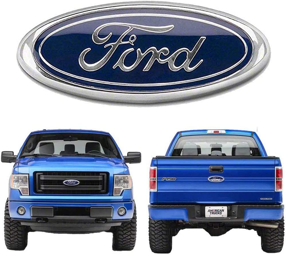 CARRAC Oval 9X3.5 Inches Front Grille Rear Tailgate Emblem for 2004-2014 F150 Black 06-11 Ranger 11-14 Edge 11-16 Explorer 2005-2007 F250 F350