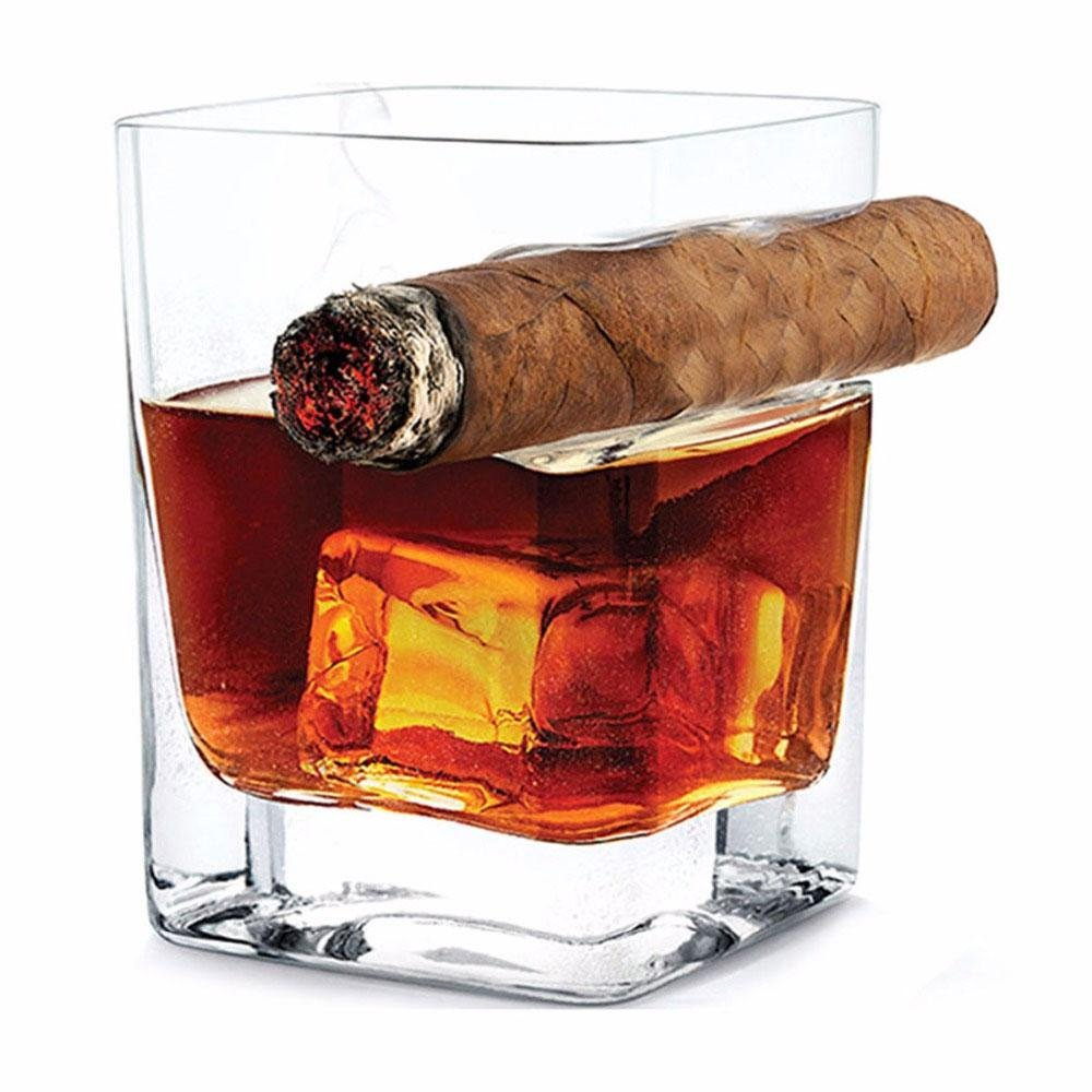 Pawaca 320ml Capacity Handcrafted Square Whiskey Glass with Cigar Holder, Old Fashioned Style, Suitable for Whiskey, Scotch, Beer, Wine, Spirit