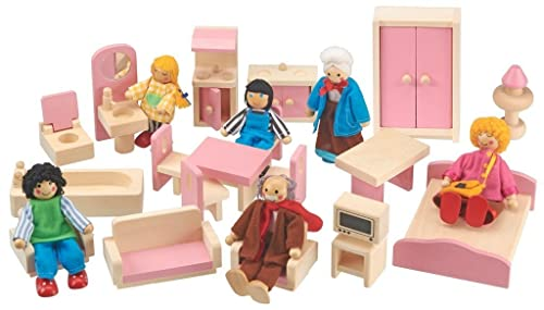 My Play Wooden Dolls House Children's Toy Set with Figures & Furniture