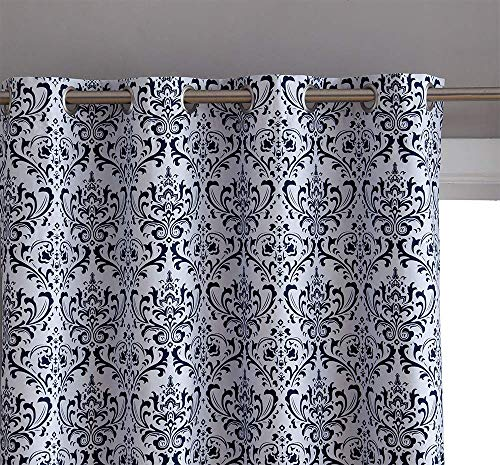 HLC.ME Damask Print 100% Full Blackout Curtains for Living Room, Bedroom, and Nursery | Noise Reducing, Room Darkening Grommet Privacy Curtains - Set of 2 (52