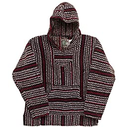 Baja Joe Striped Woven Eco Friendly Hoodie (Red/Brown/Black, X-Large)