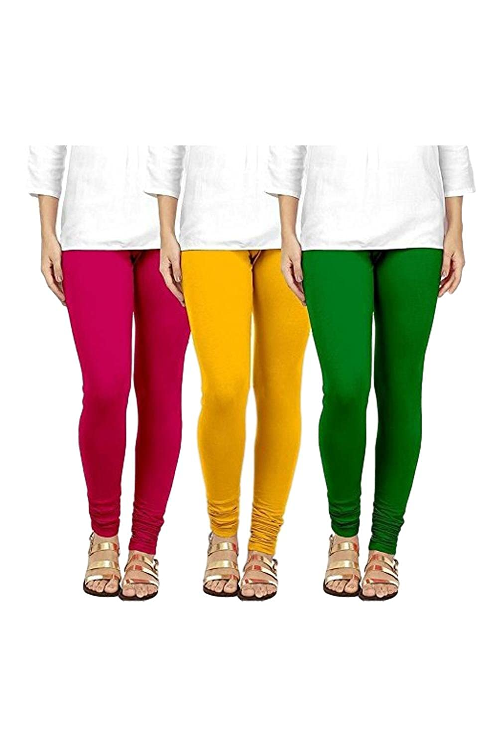 90c6662a480a5a swastik stuffs soft & stretchable cotton lycra churidar free size leggings  combo offer for women (