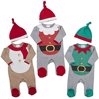 ca9e69fa7160a B-Creative My First Christmas Baby Boys Girls Sleep Suit Babygro Hat Fancy  Dress Novelty (6 To 9 Months Beige)  Amazon.co.uk  Clothing