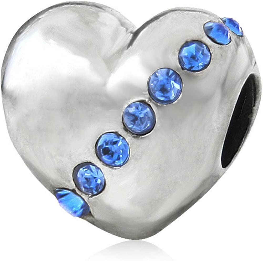 Sister September Birthstone Sapphire Crystal Charm 925 Sterling Silver Bead Fits European Brand Charms