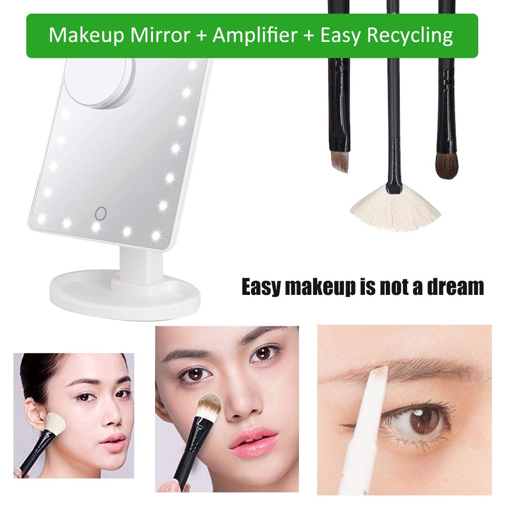Quiklet LED Lighted Makeup Mirror 22 LED Vanity Mirror Touch Screen Light Adjustable Dimmable Daul Power Supply, Detachable 10X Magnification Spot Mirror, White