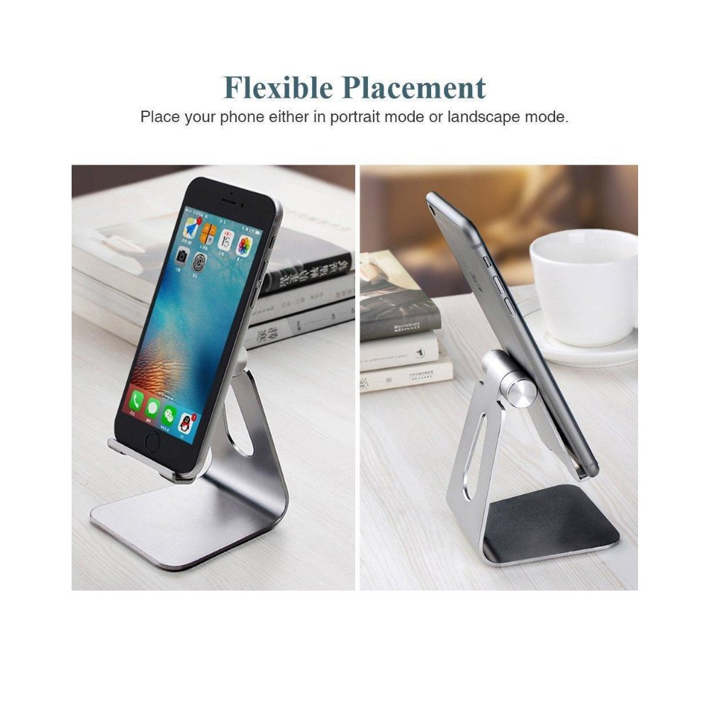 Cell Phone Stand, ixaer S1 Dock : Cradle, Holder, Stand For Switch, all Android Smartphone, iPhone 6 6s 7 8 X Plus 5 5s 5c charging, Accessories Desk - Sliver
